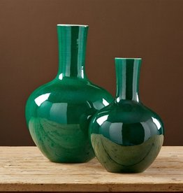TOZAI HOME IMPERIAL GREEN S/2 STRAIGHT COLLAR VASES