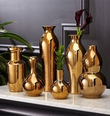 TOZAI HOME S/6 TRADITIONAL GOLDEN VASES PORCELAIN