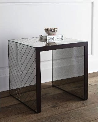 CHEVRON END TABLE-ANTIQUE MIRROR