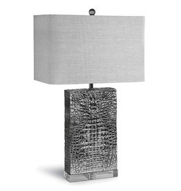 PLATED NICKEL CROC COLUMN LAMP