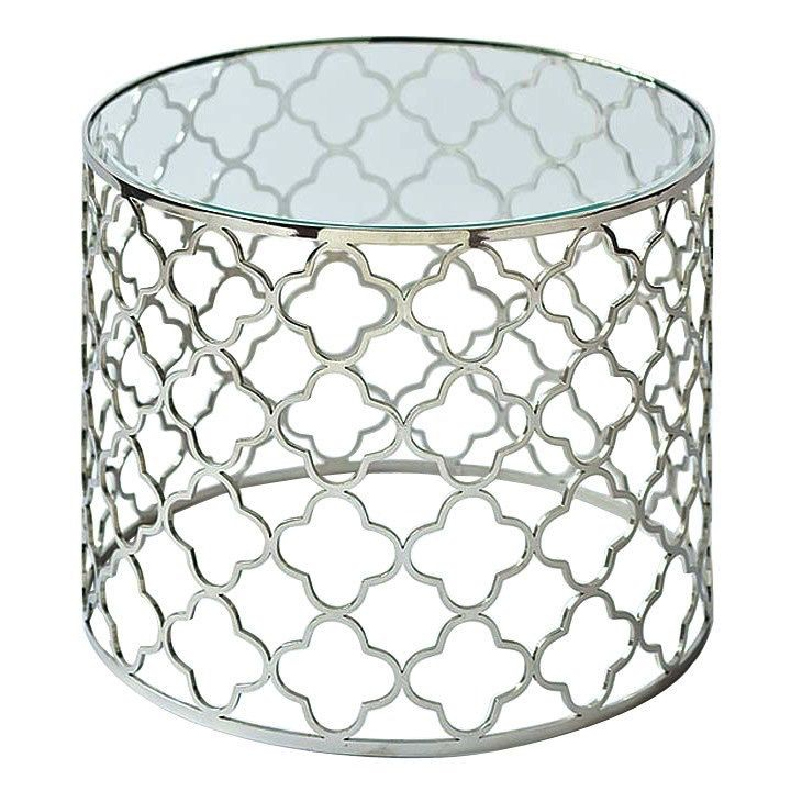 BRUSHED NICKEL GLASS TOP TABLE