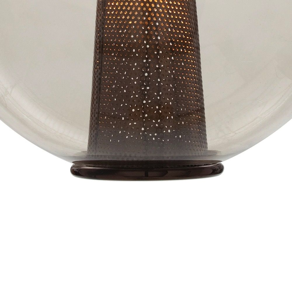 ARTERIORS CAVIAR LARGE SMOKE GLASS PENDANT IN BROWN NICKEL