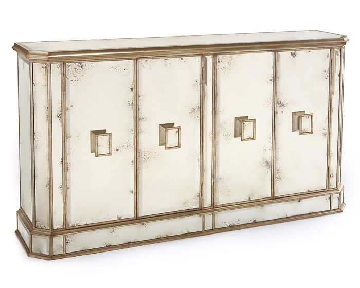 JUNO FOXED MIRROR 4 DOOR CREDENZA
