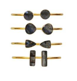 GOLD PLATED LABRADORITE GEOMETRIC BANGLE