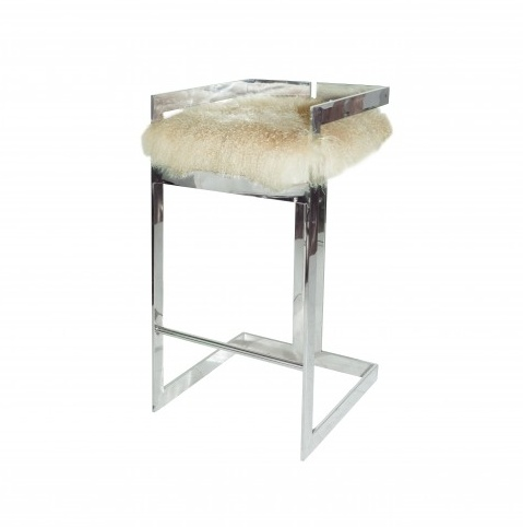 HEARST MONGOLIAN FUR & NICKEL BAR STOOL