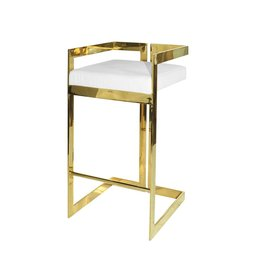 HEARST WHITE & BRASS BAR STOOL