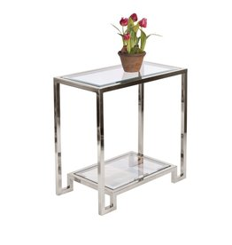 DOMINO SILVER LEAF SIDE TABLE