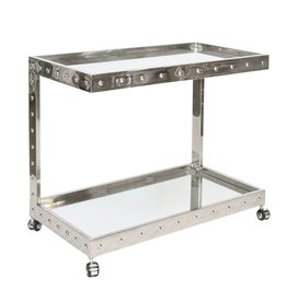VINCE STAINLESS STEEL BAR CART