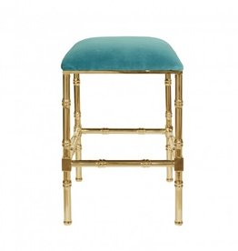 SADLER TURQUOISE & BRASS COUNTER STOOL