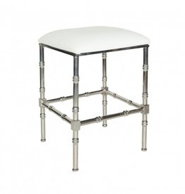 SADLER WHITE & NICKEL COUNTER STOOL