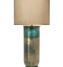 LARGE VAPOR TABLE LAMP w/ LARGE TAUPE SILK DRUM SHADE