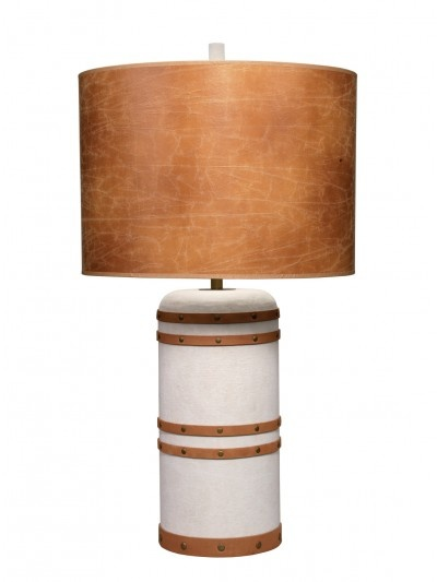 BARREL TABLE LAMP w/ LARGE DRUM SHADE