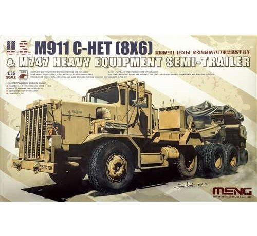 MGK-MENG MODEL KITS SS013 Meng 1/35 U.S. M911 C-Het & M747 Heavy Equipment Semi-Trailer - MMSS013