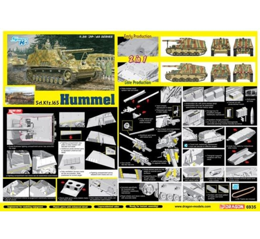 6935 Sd.Kfz.165 Hummel Early/Late Production (2 in 1) - Smart Kit 1/35
