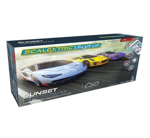 SSR-Scalextric C1388T 1/32 SETS ARC PRO SUNSET SPEEDWAY SET LAMBORGHINI CENTENARIO VS JAGUAR C-X75 VS MCLAREN 720S