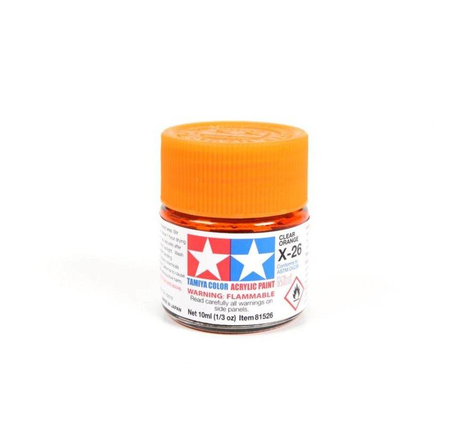 81526 Acrylic Mini X26 Clear Orange 1/3 oz