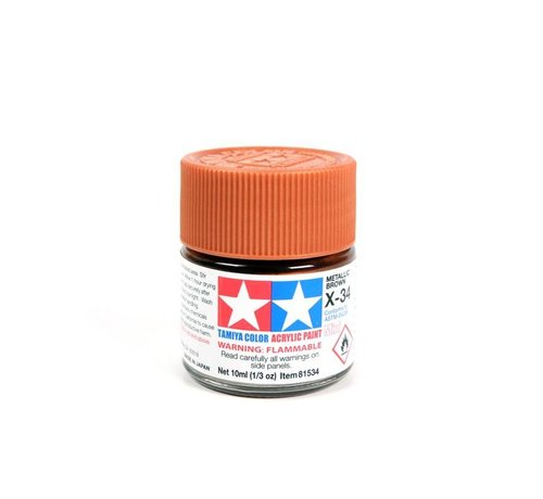 TAM - Tamiya 865- 81534 Acrylic Mini X34 Metallic Brown 1/3 oz