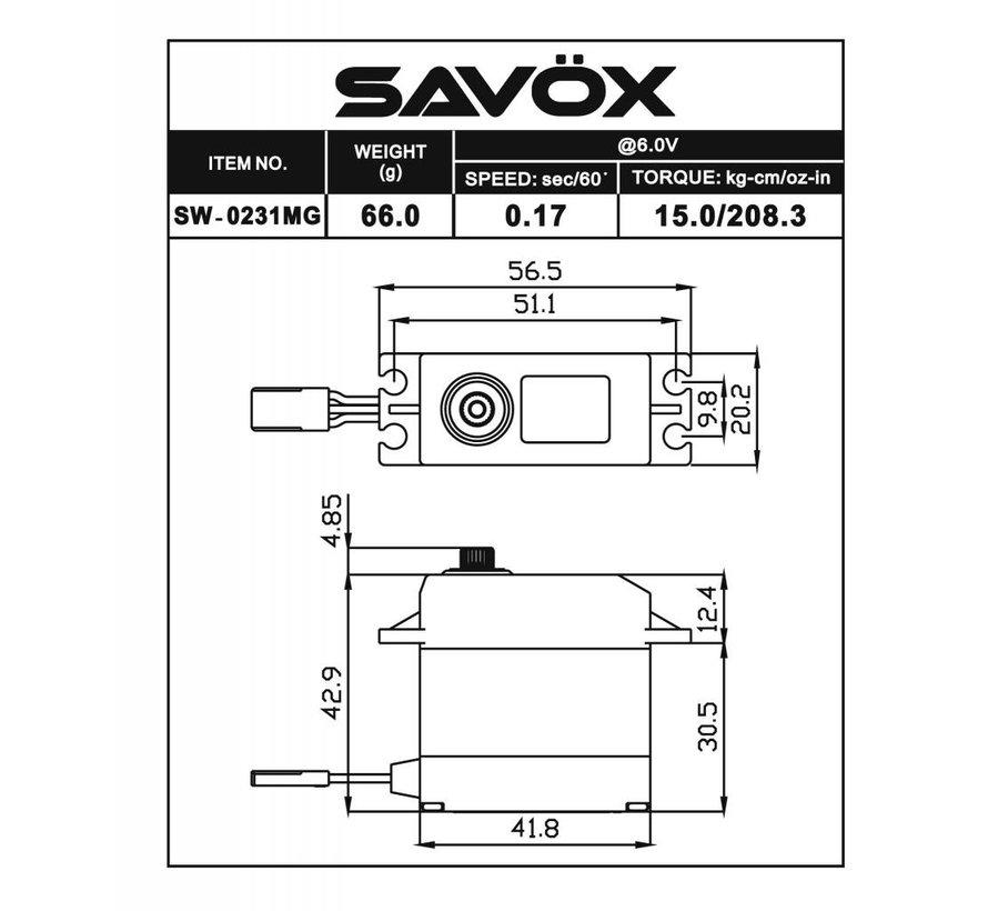 SW0231MG Waterproof Standard Digital Servo .15/208 @ 6.0V