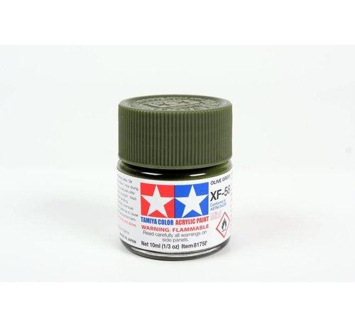 Tamiya (TAM) 865- 81758 Acrylic Mini XF58 Olive Green 1/3 oz