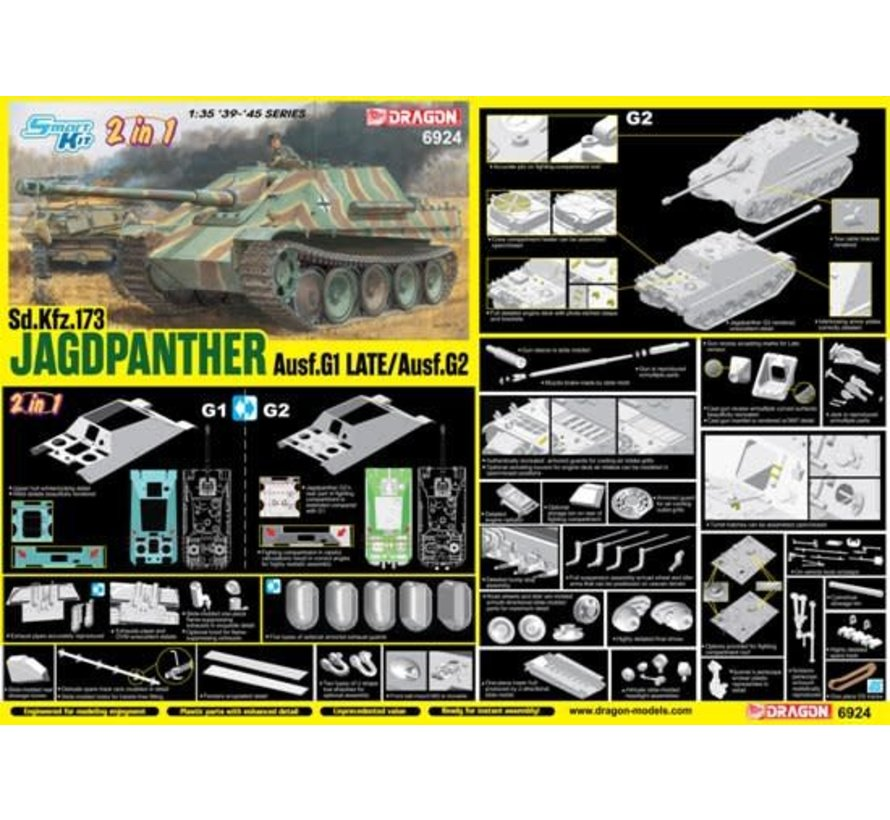 6924  Jagdpanther Ausf.G1 Late Production / Ausf.G2 (2 in 1) 1/35