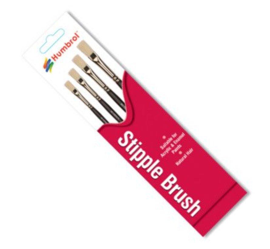 AG4303 - Set of 4 Acrylic & Enamel - Brush Pack, Stipple, Natural Hair
