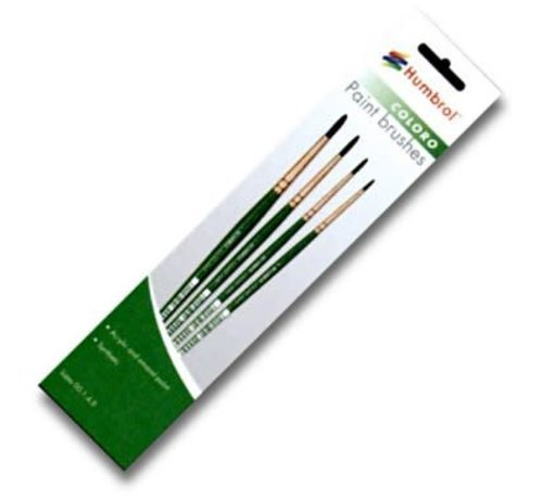 Humbrol - HMB AG4050 - 00, 1, 4, 8 Synthetic - Coloro (Green) Brush Pack (4pk)