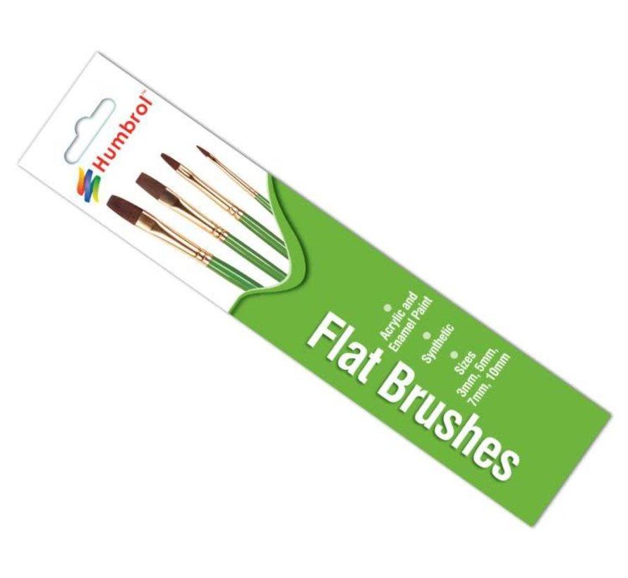 AG4302 - Set of 4 Acrylic & Enamel - Brush Pack, Flats, Synthetic Hair