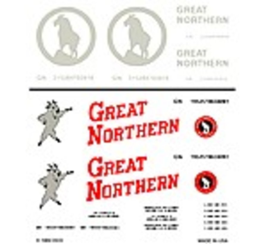 HO Boxcar Decal Dry Transfer Great Northern Boxcars Modern General Freight HO Scale (D)