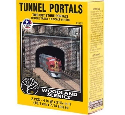 WOO - Woodland Scenics 785- C1157 N-scale Double Tunnel Portal Cut Stone 2