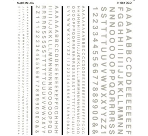 """Woodland Scenics (WOO) 785- Dry Transfer R.R. Gothic White Letters/Numbers 1/16"""", 3/32"""", 1/8"""", 3/16"""""""
