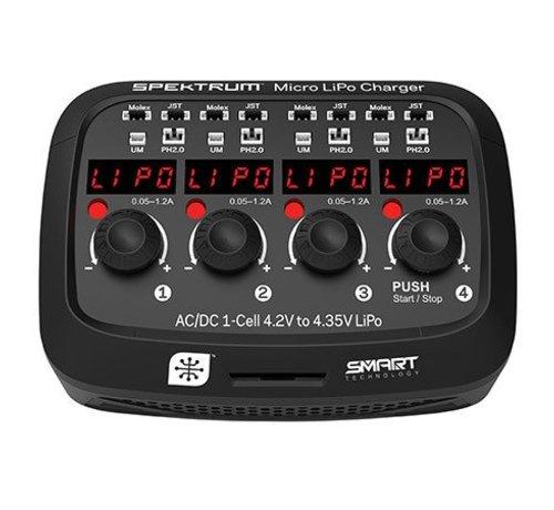 Spektrum (SPM) (SO) XC1040 Micro 4 port AC/DC 1S LiPo Battery Charger