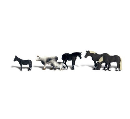 WOO - Woodland Scenics 785- N Scenic Accents Farm Animals (3 Horses, 2 Pigs, & 2 Cows)