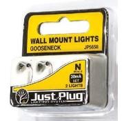 Woodland Scenics (WOO) 785- N Wall Mount Lights, Gooseneck (2)