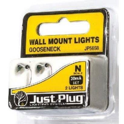 WOO - Woodland Scenics 785- N Wall Mount Lights, Gooseneck (2)