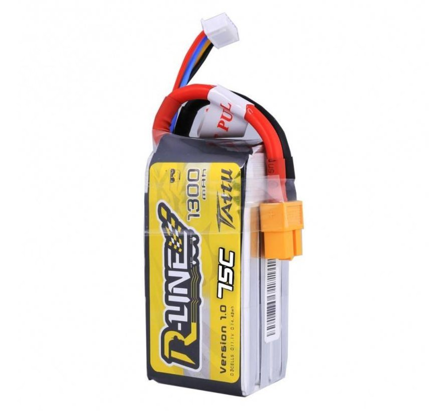 Tattu 11.1V 1300mAh 3S 75C lipo battery pack with XT60 plug