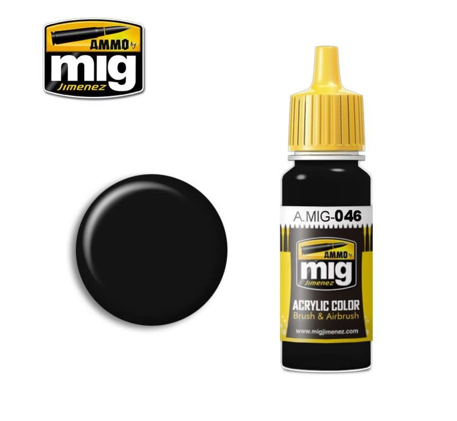 AMM0046 AMMO by Mig Acrylic Color - Matt Black (17ml bottle)