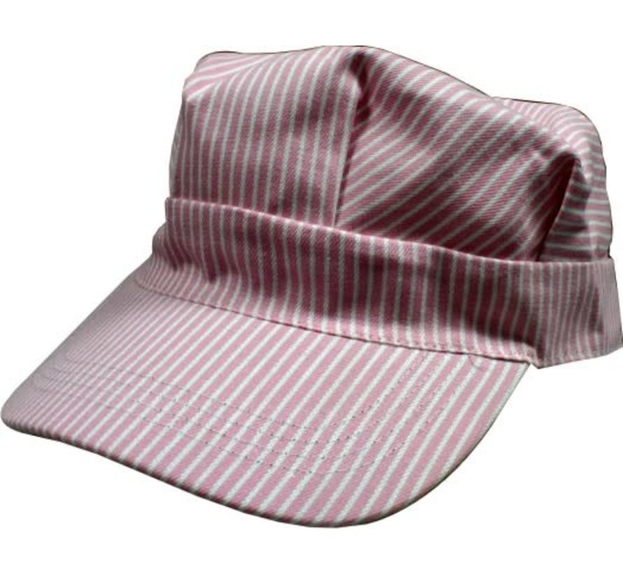 00059 Hickory Pink/White Striped Hats (Engineer Cap) Child
