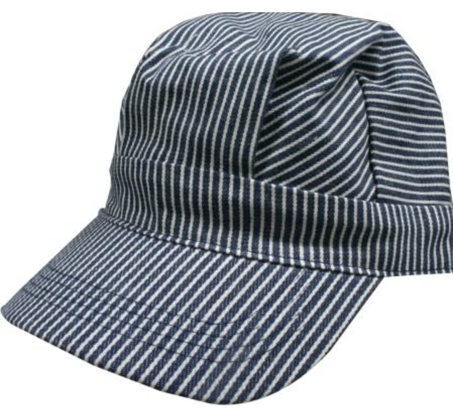 00058 Blue/White Striped Hats (Engineer Cap) Adults