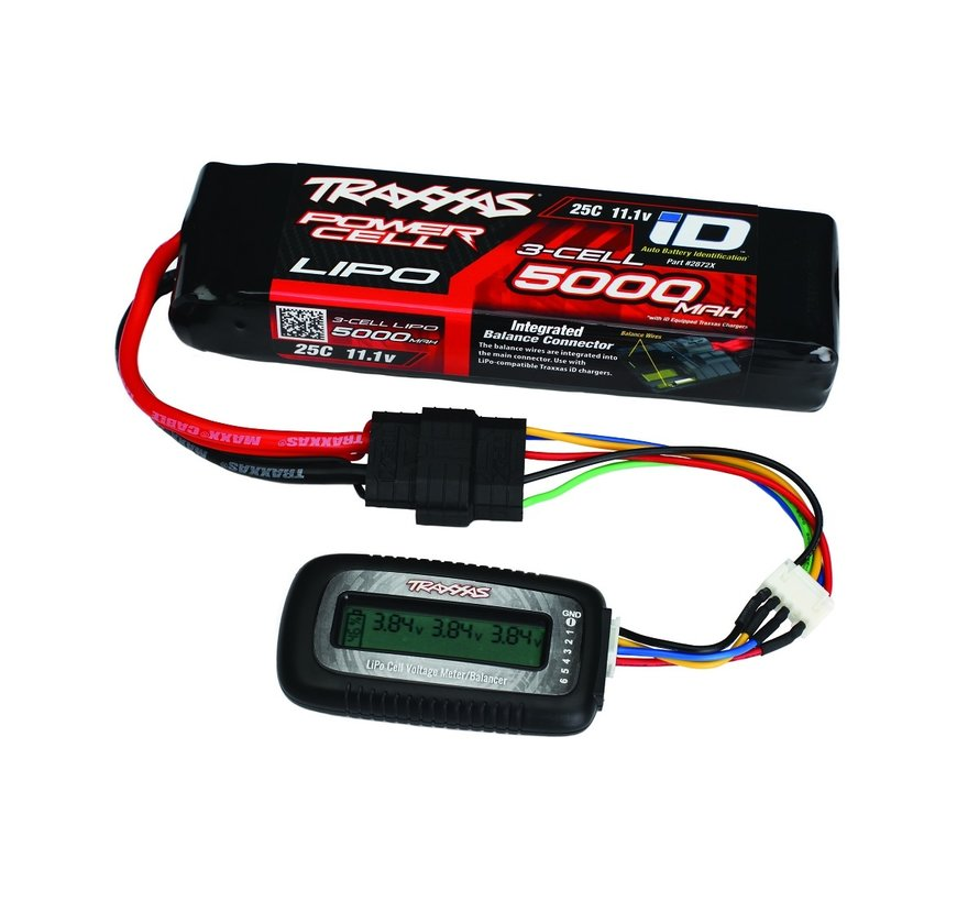 LiPo cell voltage checker/balancer (includes #2938X adapter for Traxxas iD batteries)