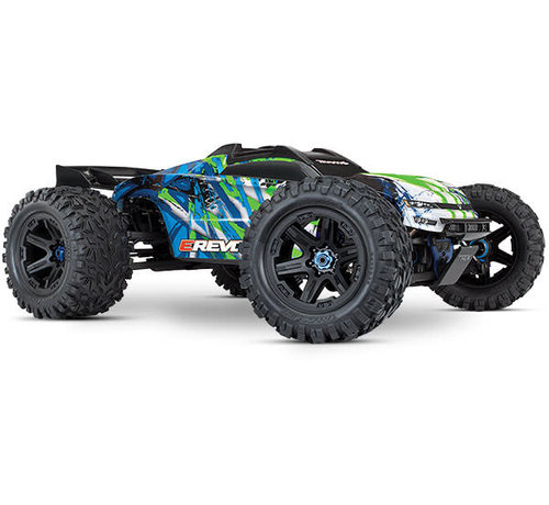 Traxxas (TRA) E-REVO 2, GREEN 86086-4 - E-Revo VXL Brushless: 1/10 Scale 4WD Brushless Electric Monster Truck with TQi 2.4GHz Traxxas Link Enabled Radio System and Traxxas Stability Management (TSM)