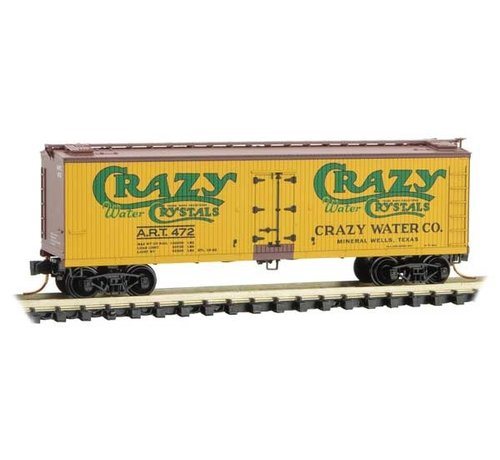 Micro-Trains Line (MTL) 489- 04900800 N Scale 40' Double-Sheathed Wood Reefer with Vertical Brake Wheel - Ready to Run -- Crazy Water Co. ART 472 (yellow, Boxcar Red, green) - Rel. 4/19