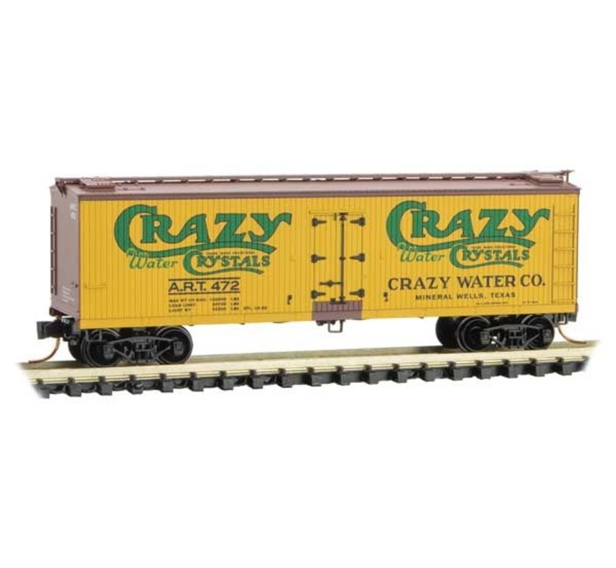 04900800 N Scale 40' Double-Sheathed Wood Reefer with Vertical Brake Wheel - Ready to Run -- Crazy Water Co. ART 472 (yellow, Boxcar Red, green) - Rel. 4/19