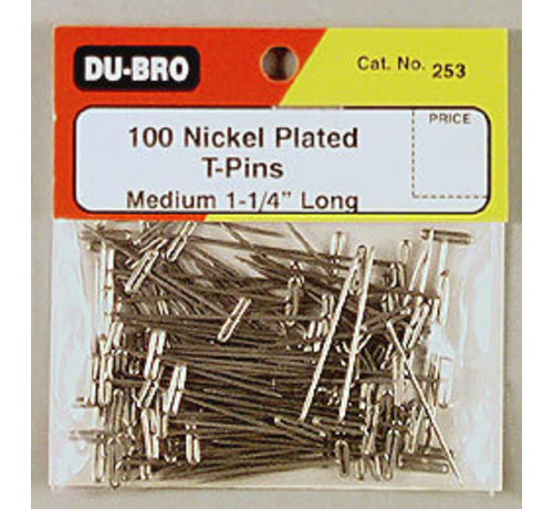 Dubro (DUB) 253 T-Pins Nickel Plated 1-1/4 (100)