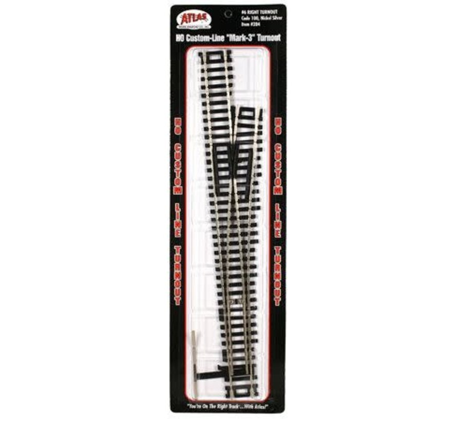 284 HO scale Code 100 Custom Line(R) Mark IV Turnout -- No. 6, Right Hand