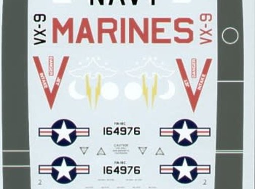 MSI-Microscale Industries 460- McDonnell-Douglas F/A-18C 164976 XE/400 VX-9 black fins 1:32 decals