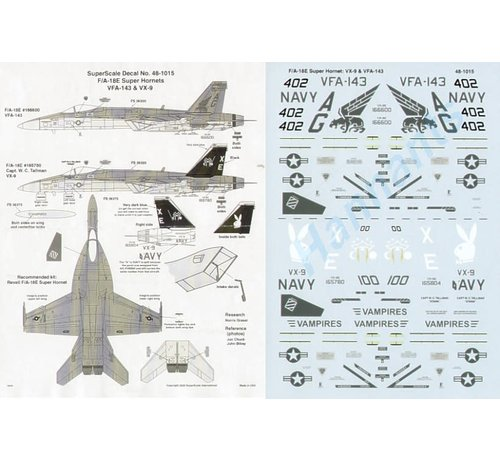 Microscale (MSI) 460- 481015 DEBoeing F/A-18E Super Hornets (2) 166600 AG/402 VFA-143 Pukin Dogs; 165780 XE/100 VX-9 Vampires Dk blue/black fins with Playboy bunny. Due to panel replacement carried 165804 on stb side 1:48CAL - Boeing F/A-18E Super Hornets (2) 166600 AG/402 VFA