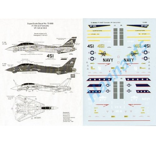 Microscale (MSI) 460- 72868 DECAL - Grumman F-14A/F-14D Tomcats (2) 162683/451 VF-124 Gunfighters special fin markings, overall lt gull grey, dark blue fins; 164604 XF/1 VX-9 overall black 1:72