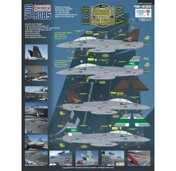 TWO BOBS (TB) Boeing F/A-18F Super Hornet VX-9 Vampires CoNA (2) 166673 XE/250; 166791 XE/260. Both NAS China Lake 2011. 3ins CoNA Pressure Sensitive Sticker included 1:48 decals