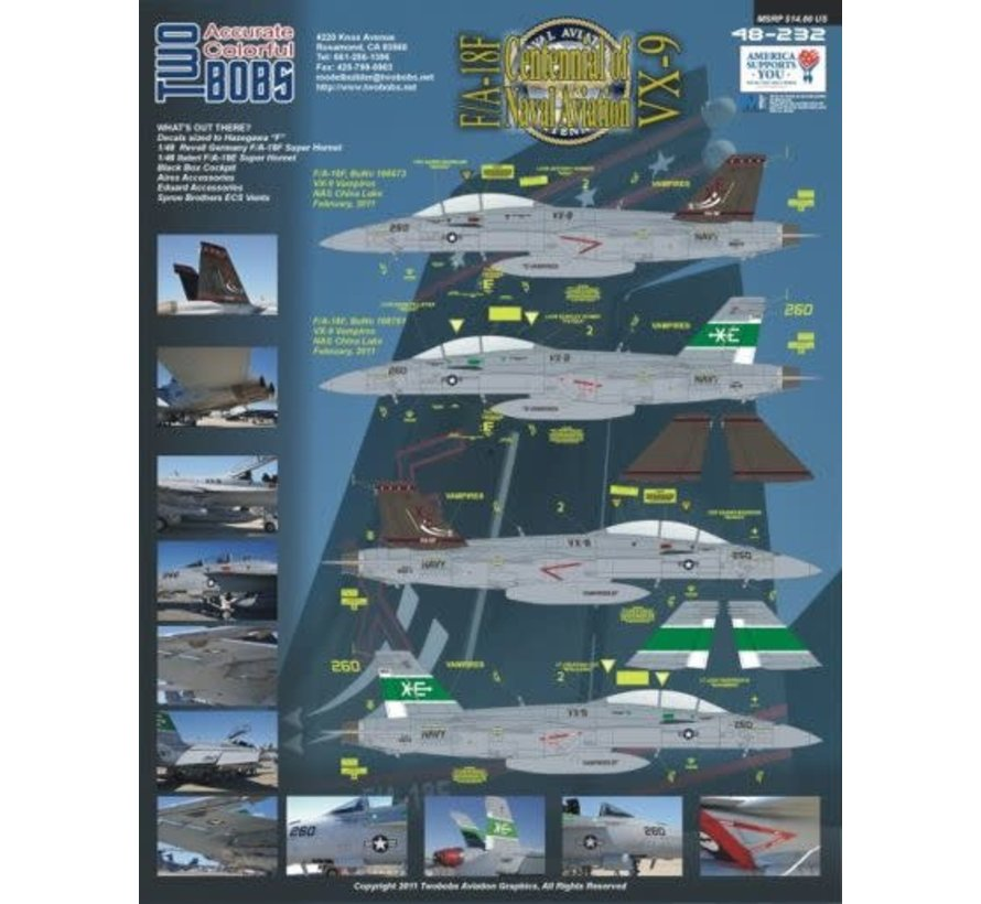 48232 DECAL - Boeing F/A-18F Super Hornet VX-9 Vampires CoNA (2) 166673 XE/250; 166791 XE/260. Both NAS China Lake 2011. 3ins CoNA Pressure Sensitive Sticker included 1:48
