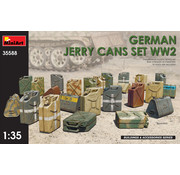 MNA - MINIART MODELS GERMAN JERRY CANS SET WWII KIT CONTAINS 24 JERRY CANS 2 ASSEMBLING OPTIONS OF JERRY CAN LIDS 4 TYPES OF GERMAN 20L JERRY CANS PHOTO-ETCHED PARTS INCLUDED DECALS SHEET INCLUDED 1:35